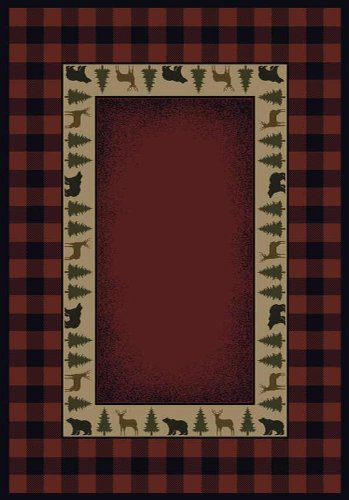 United Weavers of America Genesis Collection Buffalo Red Rug - 1ft. 10in. x 3ft., Crimson, Olefin Rug in Southwestern Style with Jute Backing