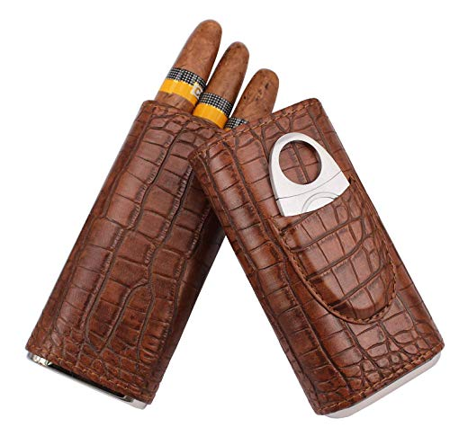 - AMANCY 3- Holder Classy Vintage Crocodile Pattern Leather Cigar Case with Cedar Wood Lined