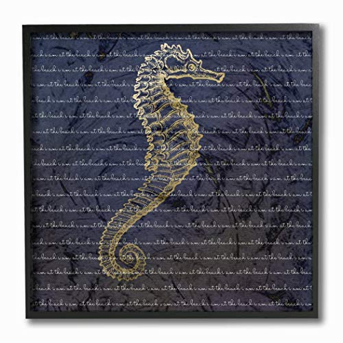 Beach 12' Sign Blue Decor (12' x 12' Blue Yellow Seahorse Pattern Wall Art Square, Navy Sea Horse Hanging Picture Coastal Nautical Beach Themed Wood Plaque Ocean Fish Fishes Tropical Arts Modern Contemporary, Wood)