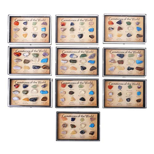 VIccoo Rock Collection 12Pieces Mixed Natural Mineral Ore Specimens Gemstones with Box ()