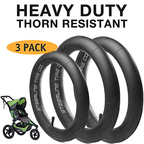 ([3-Pack] Two 16'' x 1.5/1.75 Rear AND One 12.5'' x 1.75/2.15 Front Heavy Duty Thorn Resistant Inner Tire Tube For All BOB Revolution Strollers & Stroller Strides - The Smart BOB Stroller Tire Tube Set)