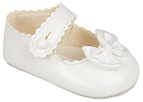 Baby Girls Pram Shoes Pink,White,Ivory,Red,Black Patent Christening Party