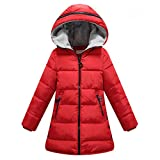 Long Coat,WuyiMC Unisex Big Girls Boys Winter Parka Jacket With Hoodie (5-6 Toddlers, Red)