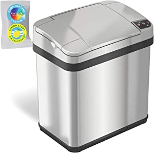 iTouchless 2.5 Gallon Sensor Garbage Can with Odor Filter and Fragrance, Touchless Automatic Trash Bin, Perfect for Bathroom and Office, 2 Gallon Stainless Steel