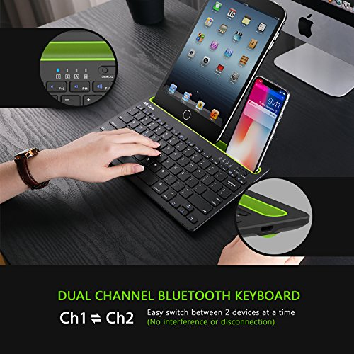 Bluetooth keyboard, Jelly Comb BK230 Dual Channel Multi-device Universal Wireless Bluetooth Keyboard Rechargeable with Sturdy Stand for Tablet Smartphone PC Windows Android iOS Mac (Black and Green) by Jelly Comb (Image #2)