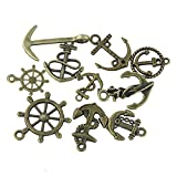 Pack of 10 Antique Bronze Mixed Style Ship wheel Anchor Charms Pendant for Craft