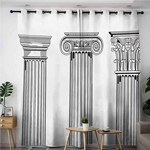 AndyTours Thermal Insulated Blackout Curtains,Pillar,Antique Theme Column Capitals Illustration Ancient Style Architecture Pattern,for Bedroom Grommet Drapes,W84x96L,Black and White ()