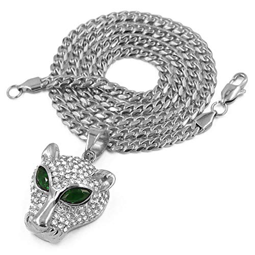 Raonhazae Stainless Steel Silver Iced Out Green Emerald Eyed Panther Pendant w/Cuban Chain (30) (Steel Emerald)