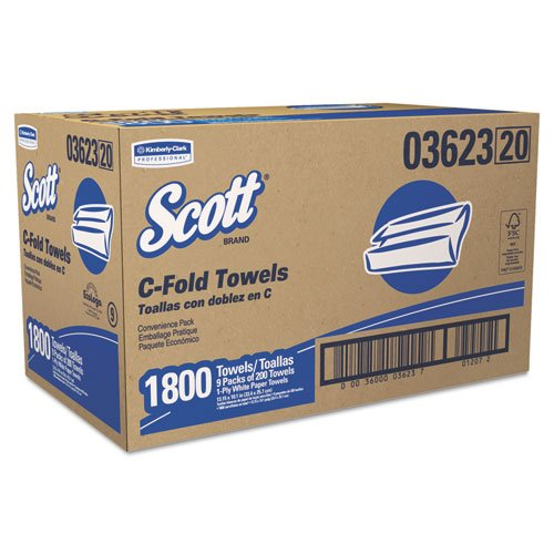 Amazon.com: KIMBERLY-CLARK PROFESSIONAL* SCOTT C-Fold Paper Towels, Convenience Pack, 10 1/8 x 13 3/20, White, 200/Pack - Includes nine packs of 200 towels, ...