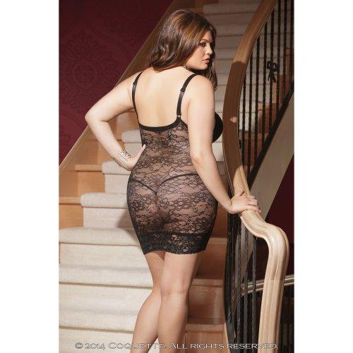 Mini Spitze nbsp;22 18 Schwarz Sexy 20 mit Unterwäsche Damen Chemise 24 Größen Plus Nachtwäsche Back Kleid tYCaUYqxw