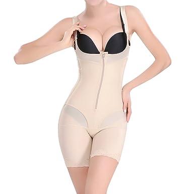 548186b509c Shymay Women s Full Body Shaper Seamless Zipper Open Bust Bodysuit Shapewear