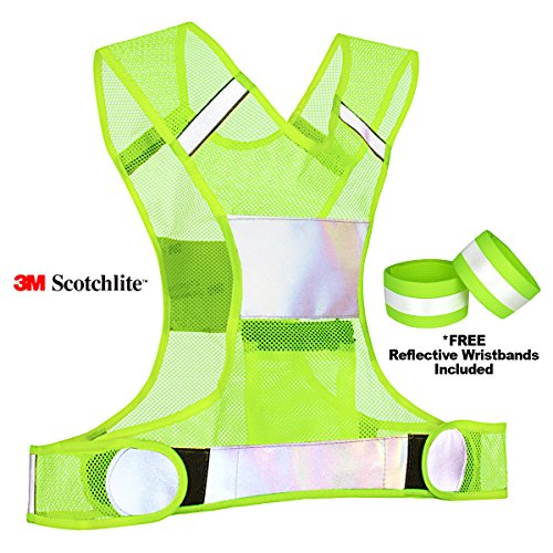 Reflective Vest for Running Cycling Dog Walking Motorcycle - 3M Scotchlite High (Vest Reflective Bands)