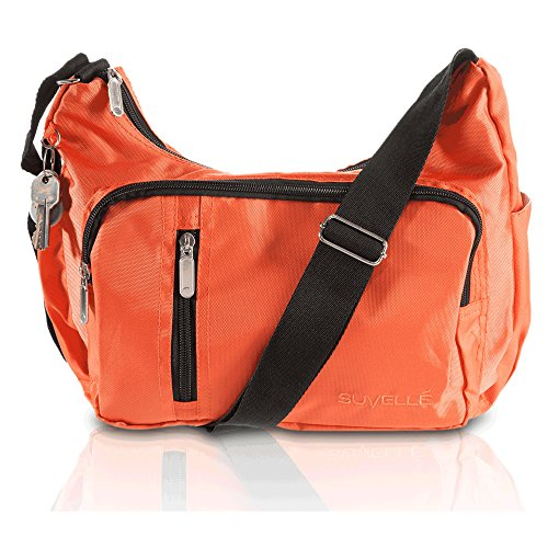 Suvelle Lightweight Slouch Travel Everyday Crossbody Bag Multi Pocket Shoulder Handbag 2054 Arancione