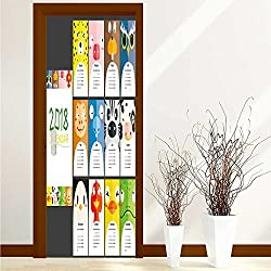 PRUNUS Art Door Decals hand drawn illustrations table calendar template for Door/Bathroom/Office W36 x H79 INCH