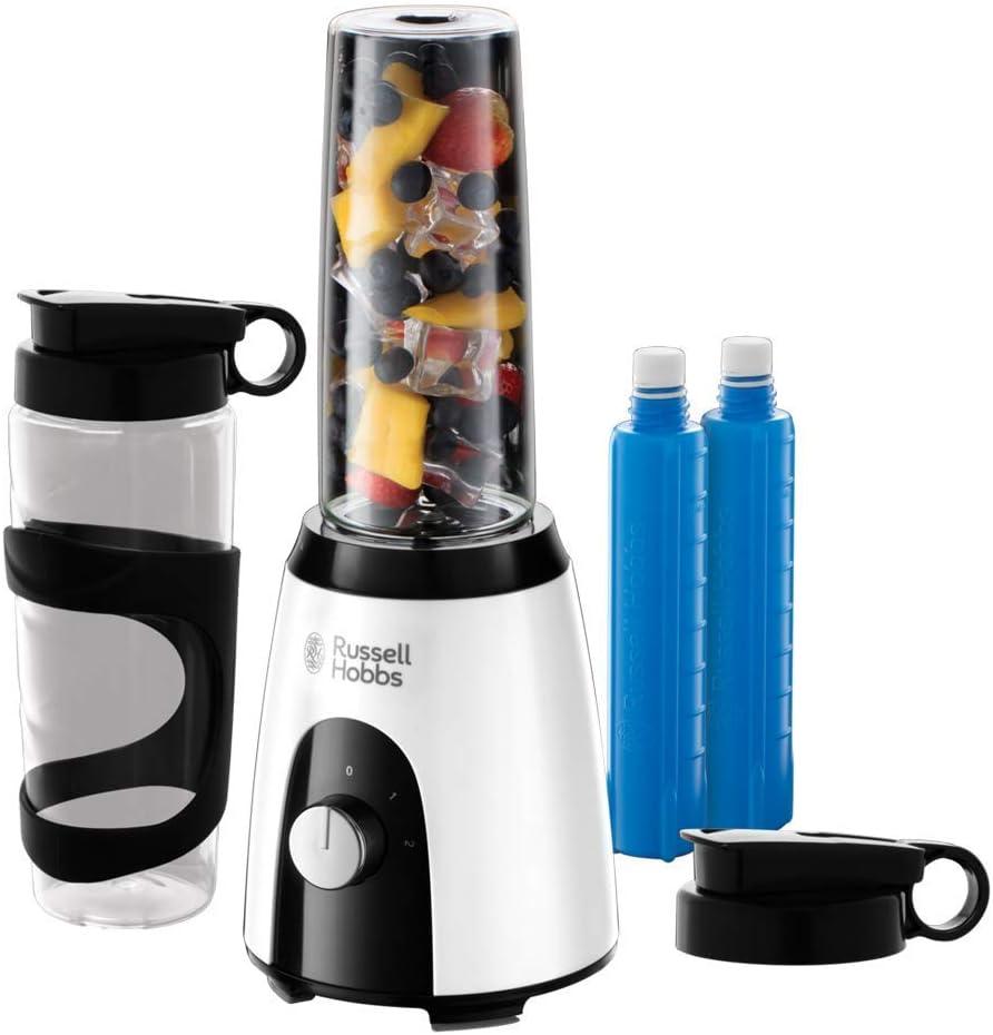 Russell Hobbs Horizon Mix & Go Boost - Batidora de Vaso Individual (400 W, Sin BPA, Blanco y Negro, 2 Vasos de 600 ml, 2 Tubos Refrigeradores) - ref. 25161-56