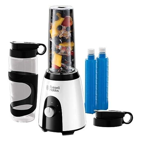 Russell Hobbs Horizon Mix & Go Boost - Batidora de Vaso Individual (400 W, Sin BPA, Blanco y Negro, 2 Vasos de 600 ml, 2 Tubos Refrigeradores) - ref. ...
