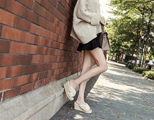 Hauts Beige Femmes Chaussures Slippers Toe Confort Beige Open Talons Pantoufles Printemps Gris 34 Mode Extérieur DANDANJIE Sexy Chaud Noir 39 ZqIwRq