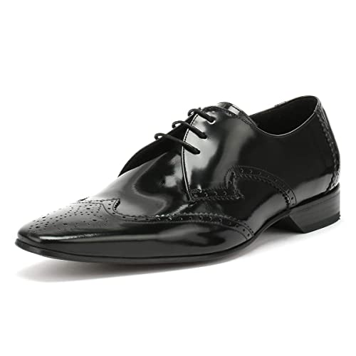 665ad052cd Jeffery West Mens College Black Escobar Brogue Derby Shoes-UK 7 ...