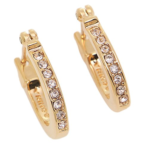 (COACH PAVE SIGNATURE HUGGIE EARRINGS - ROSE GOLD-)