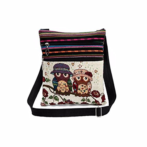 Shoulder Bag Owl Handbag Postman bag ╰︶﹉⋛⋋⊱⋋๑Luoluoluo๑⋌⊰⋌⋚﹉︶╯Beach Embroidery Handbag C bag Woman Female Single 0n8UA1
