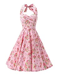 Kisstyle Women Vintage Floral Print Casual Cocktail Party Dress