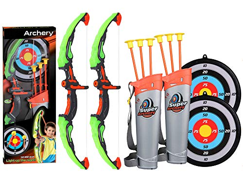 2 Pack Set Kids Archery Bow Arrow Toy Set with Targets, Suction Cup Arrows and Quiver, LED Light Up Function Toy for Boys Girls Indoor and Outdoor Garden Fun Game -