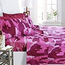 Printed Bed Sheet Set, King Size - Pink Camouflage - By Clara Clark, 6 Piece Bed Sheet 100% Soft Brushed Microfiber, With Deep Pocket Fitted Sheet, 1800 Luxury Bedding Collection, Hypoallergenic,