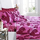 full size camo bed set - Printed Bed Sheet Set, Full Size - Pink Camouflage - By Clara Clark, 6 Piece Bed Sheet 100% Soft Brushed Microfiber, With Deep Pocket Fitted Sheet, 1800 Luxury Bedding Collection, Hypoallergenic,