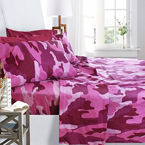 Printed Bed Sheet Set, Queen Size - Pink Camouflage - By Clara Clark, 6 Piece Bed Sheet 100% Soft Brushed Microfiber, With Deep Pocket Fitted Sheet, 1800 Luxury Bedding Collection, Hypoallergenic,