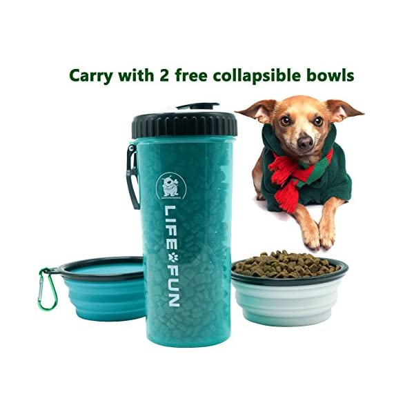 LIFE4FUN Dog Water Bottle for Walking and Food Container 2 in 1 with Dog Water Bowl Collapsible, Travel Dog Water Dispenser for Pets, (XL Size, Blue) 6