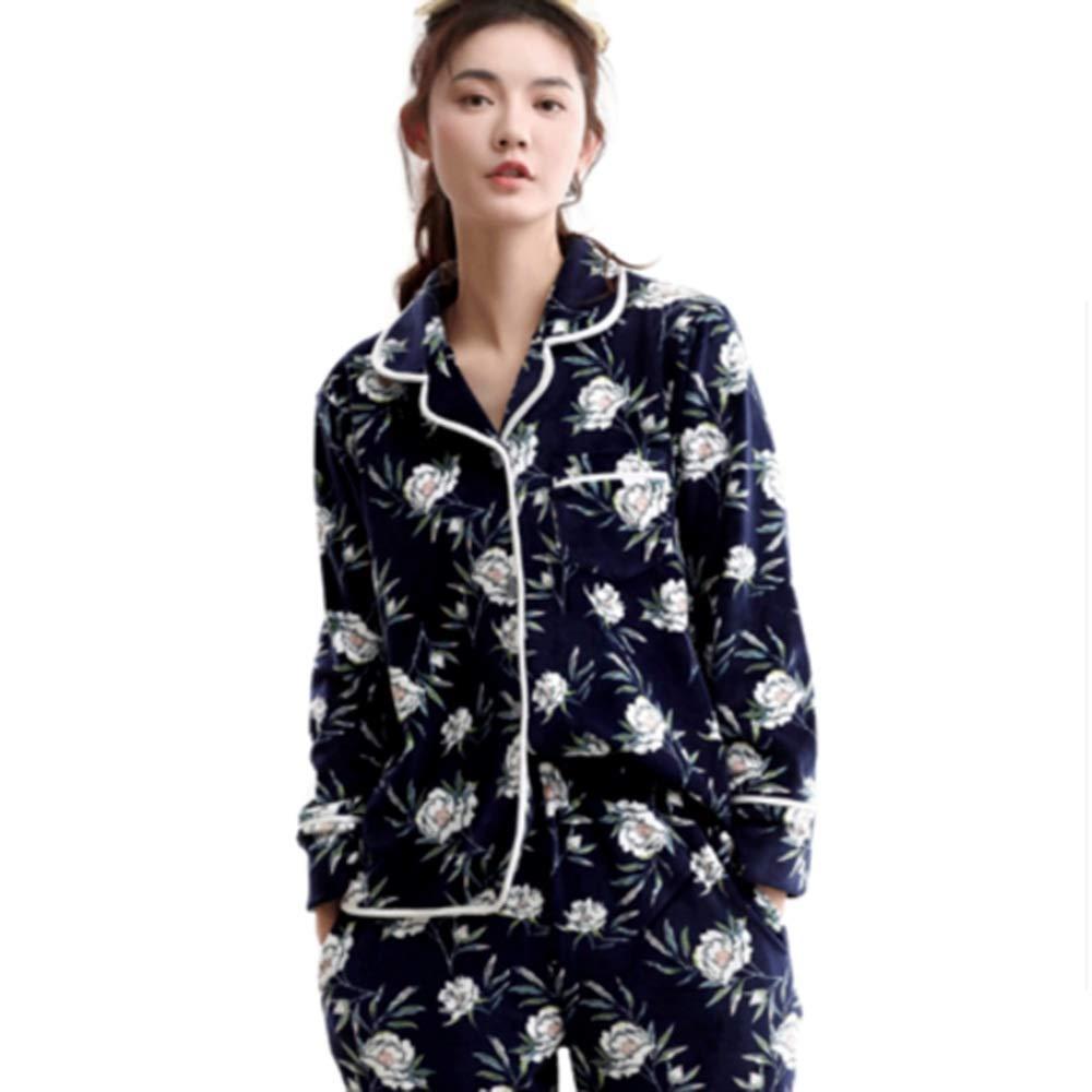 Bathrobe NAN liang Pajamas Women s Winter Island Blue Cotton Autumn Winter  Long Sleeve Korean Thicken Fashion Print Sweet Small Lapel Home Service Set  ... dc8459955