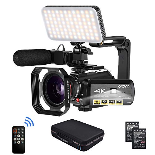 Camcorder 4k Video Camera, ORDRO HD 1080P 60FPS Vlog Camera IR Night Vision Video Recorder 3.1'' IPS WiFi Camcorder with Microphone, LED Light, Wide-Angle Lens, Handheld Holder and Carrying Case from ORDRO