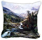 "Rikki Knight Thomas Moran Art Mounting of the Holy Cross Design 18"" Square Microfiber Throw Decorative Pillow with DOUBLE SIDED PRINT (Insert Included)"