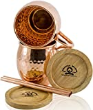 100% Copper Moscow Mule Mugs (Hammered - 16 ounces - Set of 2) Premium Handcrafted Quality with Riveted Handles  and  No Inside Liner, Bonus Copper Straws and Wood Coasters
