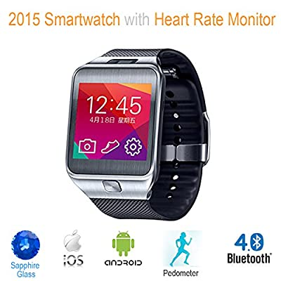 G2 Bluetooth 4.0 Smart Watch with Heart Rate Monitor, Pedomater. **Made with METAL & SAPPHIRE GLASS** Compatible with Apple iOS and Android Smartphones - AmericanPumpkins.com