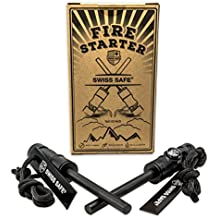 Swiss Safe 5-in-1 Fire Starter with Compass, Paracord and Whistle (2-Pack) for Emergency Survival Kits, Camping, Hiking, All-Weather Magnesium Ferro Rod