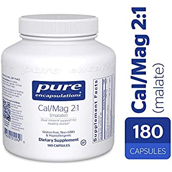 Pure Encapsulations - Cal/Mag (Malate) 2:1 - Hypoallergenic Calcium and Magnesium Supplement in a 2-to-1 ratio - 180 Capsules