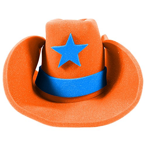 Rodeo Clown Costume (Huge Funny and Crazy Orange Cowboy Hat Super Size Cowgirl Hats Funny Party Hats)