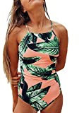 Pxmoda Women One Piece Leaf Print Swimsuit Back Bandage Padded Bikini Monokini Swimwear (M, Pink-2)