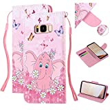 Amocase Strap Leather Case with 2 in 1 Stylus for Galaxy S8,Colorful Printed Premium Magnetic Wallet PU Leather Stand Shockproof Card Slot Case for Samsung Galaxy S8 - Butterfly Elephant
