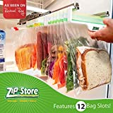 Zip n Store - Organize Your Refrigerator - Mid-Size Easy Store Organizer - Organizes 12 Ziplock Bags, Perfect For Leftovers, Easy To See + Access Food, Quick Access Slide Track, Installs In 2 Minutes