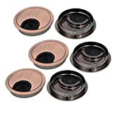 uxcell 60mm Zinc Alloy Wire Cable Hole Covers Copper Tone 6pcs for Computer Desk Table