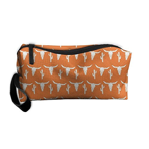 Huadduo Cow Texas Skull Orange Cactus Travel Bag Printed Multifunction Portable Toiletry Bag Cosmetic Makeup Pouch Case Organizer For Travel