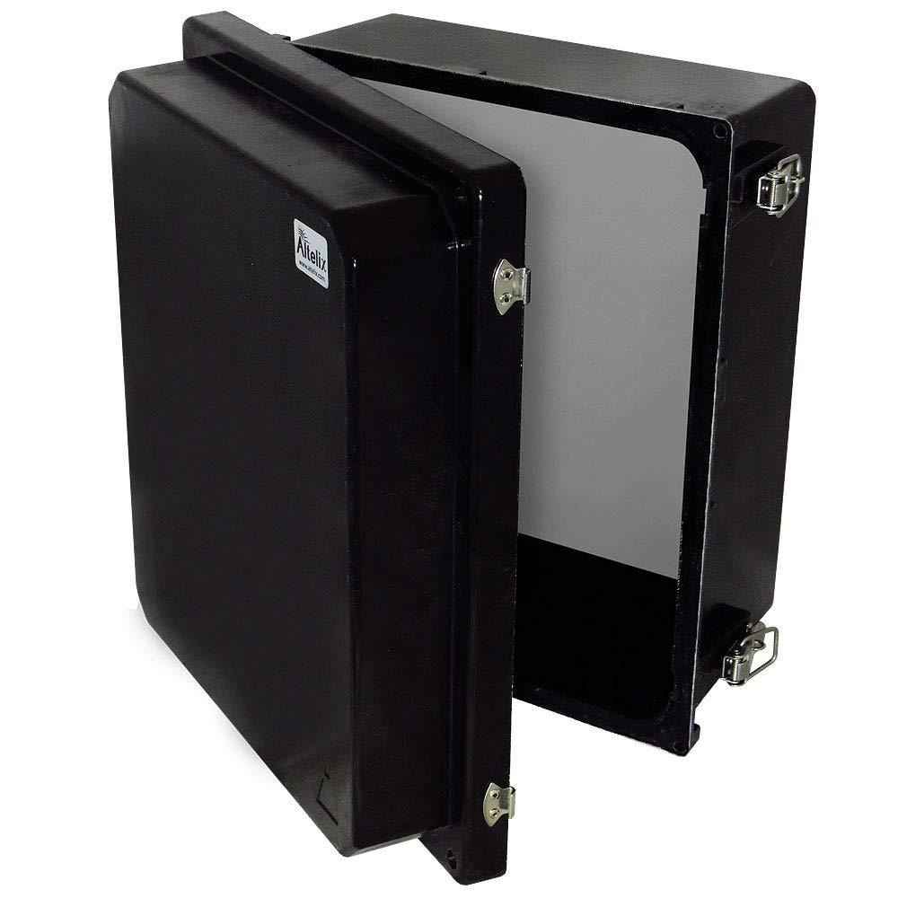 Altelix 14x12x8 Stealth Black FRP Fiberglass NEMA 4X Box Weatherproof Enclosure with Aluminum Equipment Mounting Plate, Hinged Lid & Stainless Steel Latches