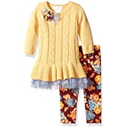 Bonnie Baby Baby Girls Sweater Dress and Legging Set, Yellow, 0-3 Months