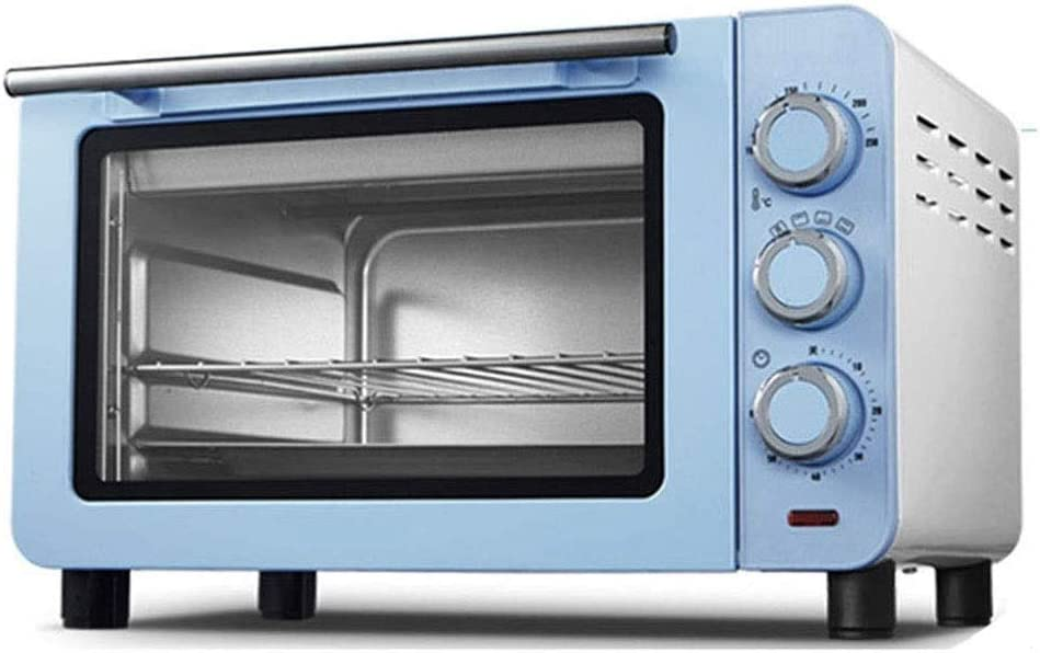 ZOUQILAI Countertop Toaster Oven, Easy Reach With Roll-Top Door,Multi-function Baking Box, Independent Temperature Adjustment 15L Blue 1200 W