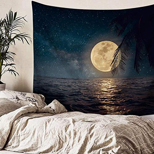 Simpkeely Night Ocean Luna Tapestry,Retro Full Moon in Night Skies Wall Hanging Tapestries,Vintage Tropical Beach Artwork,Mural for Bedroom Living Room Dorm Home Décor 59.1x51.2 Inches
