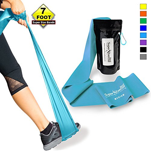 SUPER EXERCISE BAND Medium SKY BLUE Resistance Band. Your Home Gym Fitness Equipment Kit for Strength Training, Physical Therapy, Yoga, Pilates, Chair Workout | LATEX FREE For ALLERGIC SAFETY | 7 ft