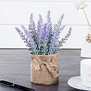 chuangxindaye Artificial Mini Potted Flowers Plant Lavender for Home Decor Party Wedding Garden Office Patio Decoration 2