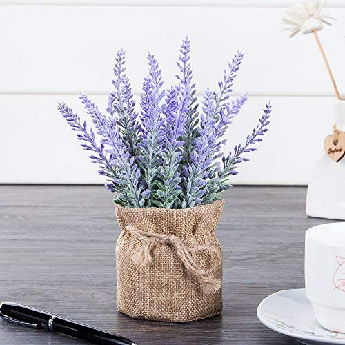 chuangxindaye Artificial Mini Potted Flowers Plant Lavender for Home Decor Party Wedding Garden Office Patio Decoration(Linen Pot)